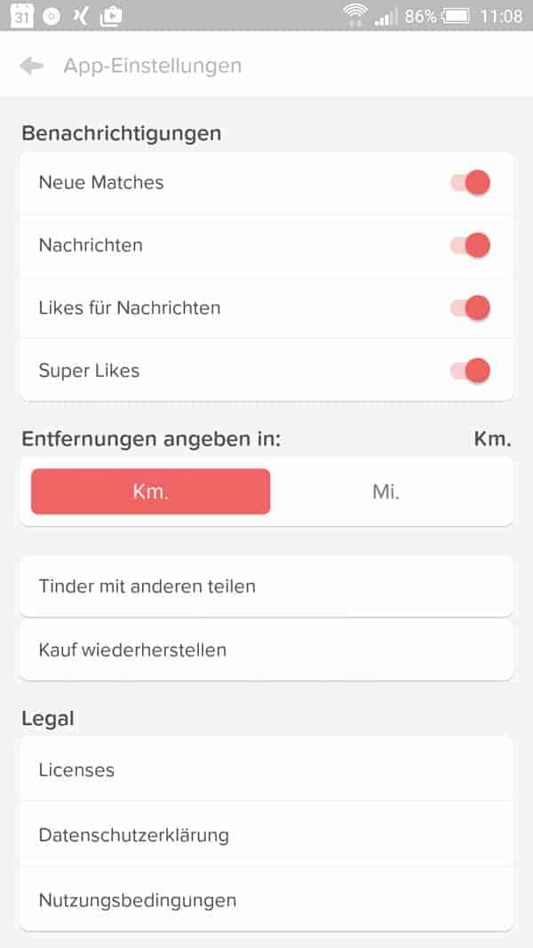 Weitere Einstellungen für das Tinder Dating & Flirt App